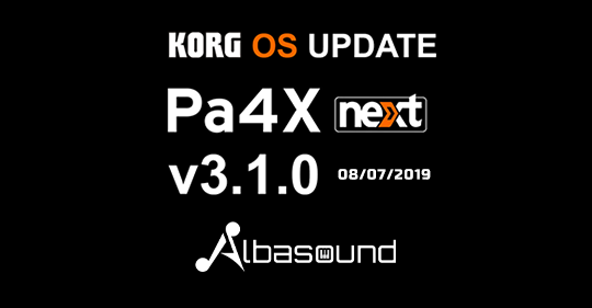 Korg PA4X OS Next 3 1 0 Update (08/07/2019)